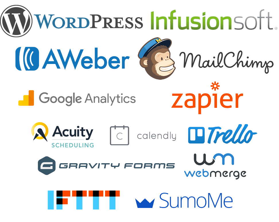 Skillset toolbox including WordPress Infusionsoft Zapier MailChimp Aweber Google Analytics and more